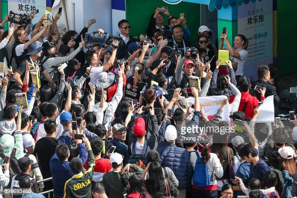 Maria Sharapova of Russia attends the autograph section as hundreds supporters gather during 2018 WTA Shenzhen Open at Longgang International Tennis...