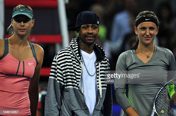 Maria Sharapova of Russia basketball player Allen Iverson and Victoria Azarenka of Belarus pose for photos during the Women's Single Final of the...