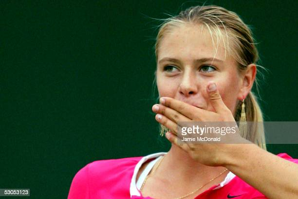 Maria Sharapova of Russia blows a kiss to the crowd during her semi final match against Tatiana Golovin of France during the DFS Classic Womens...