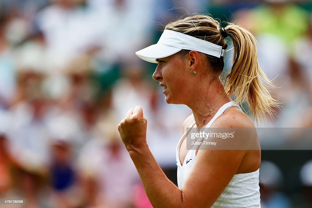 Maria Sharapova of Russia ceelbrates match point in her Ladies Singles Second Round match against Robin Haase of Netherlands during day three of the Wimbledon Lawn Tennis Championships at the All England Lawn Tennis and Croquet Club on July 1, 2015 in London, England.