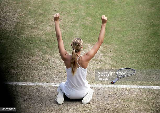 Maria Sharapova of Russia celebrate winning the ladies final match against Serena Williams of USA at the Wimbledon Lawn Tennis Championship on July 3...