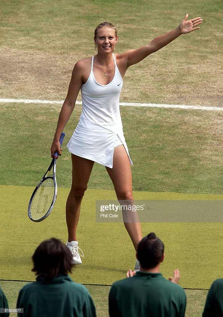 Maria Sharapova of Russia celebrate winning the ladies final match against Serena Williams of USA at the Wimbledon Lawn Tennis Championship on July 3, 2004 at the All England Lawn Tennis and Croquet Club in London. Sharapova won 6-1 6-4.
