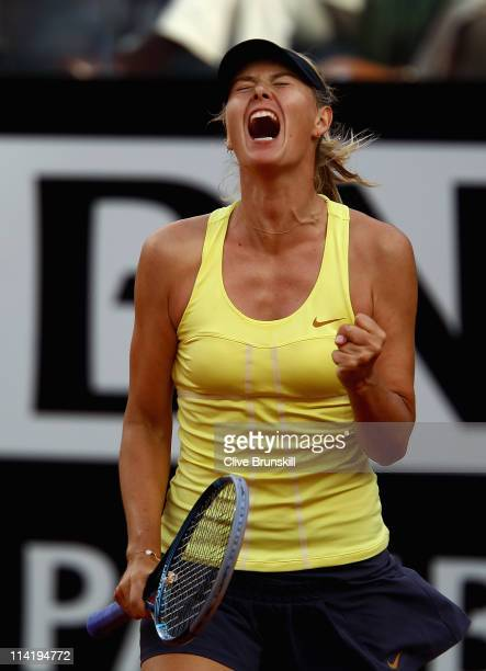 Maria Sharapova of Russia celebrates a point during the final against Samantha Stosur of Australia during day eight of the Internazoinali BNL...