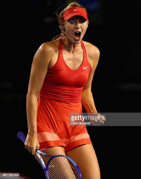 Maria Sharapova of Russia celebrates a point in her first round match against Petra Martic of Croatia during day one of the 2015 Australian Open at...