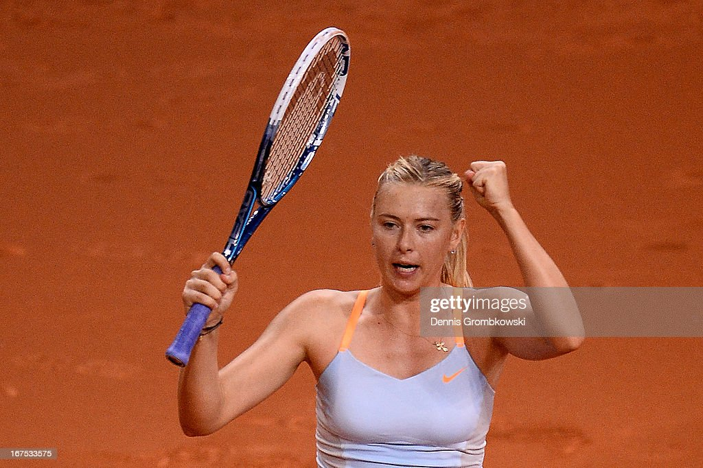 Maria Sharapova of Russia celebrates after defeating Ana Ivanovic of Serbia during Day 5 of the Porsche Tennis Grand Prix at Porsche-Arena on April 26, 2013 in Stuttgart, Germany.