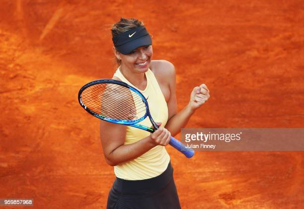 Maria Sharapova of Russia celebrates after defeating Jelena Ostapenko of Latvia during her Quater Final during day six of The Internazionali BNL...