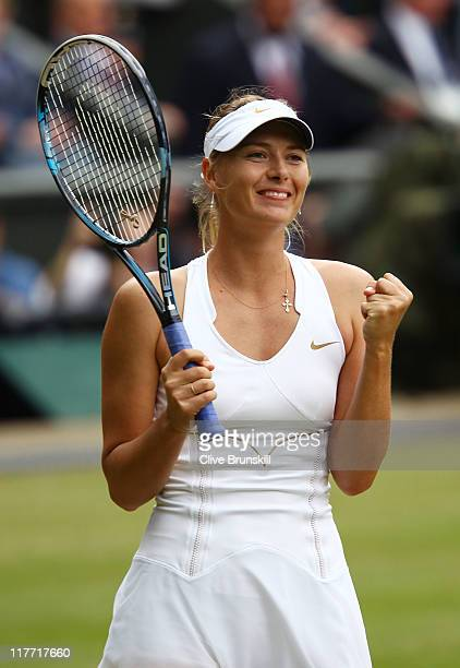Maria Sharapova of Russia celebrates after winning her semifinal round match against Sabine Lisicki of Germany on Day Ten of the Wimbledon Lawn...