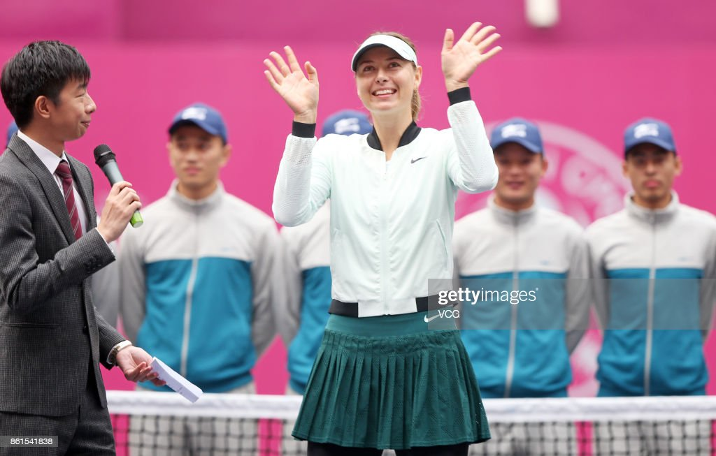 Maria Sharapova of Russia celebrates after winning the women's singles final match against Aryna Sabalenka of Belarus at the WTA Tianjin Open tennis tournament on October 15, 2017 in Tianjin, China.