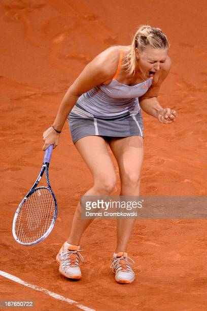Maria Sharapova of Russia celebrates during her semi final match against Angelique Kerber of Germany during Day 6 of the Porsche Tennis Grand Prix at...