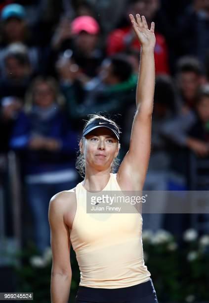 Maria Sharapova of Russia celebrates her win over Dominika Cibulkova of Slovakia during day four of the Internazionali BNL d'Italia 2018 tennis at...