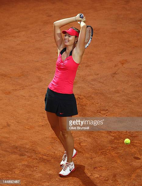 Maria Sharapova of Russia celebrates match point against Na Li of China during their final match during day nine of the Internazionali BNL d'Italia...