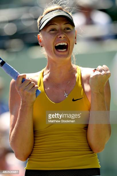 Maria Sharapova of Russia celebrates match point against Petra Kvitova of Czech Republic during the Sony Open at the Crandon Park Tennis Center on...