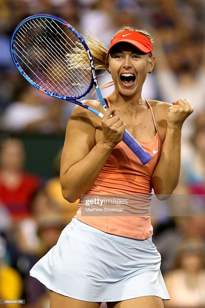 Maria Sharapova of Russia celebrates match point against Victoria Azarenka of Belarus during day eight of the BNP Paribas Open at the Indian Wells Tennis Garden on March 16, 2015 in Indian Wells, California.