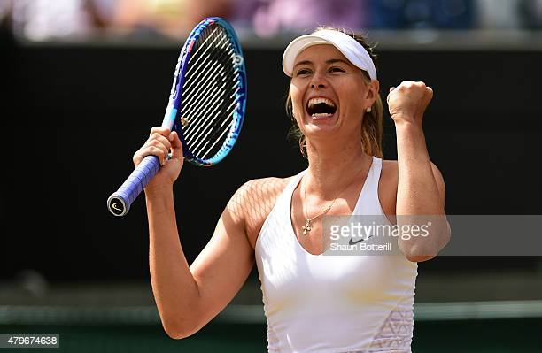 Maria Sharapova of Russia celebrates match point in her Ladies' Singles Fourth Round match against Zarina Diyas of Kazakhstan during day seven of the...