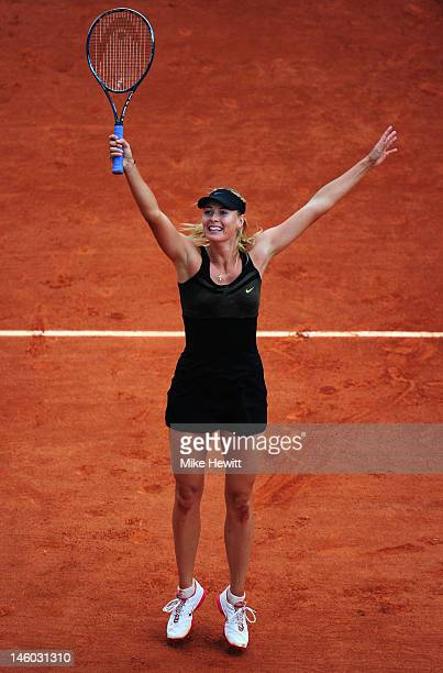 Maria Sharapova of Russia celebrates match point in the women's singles final against Sara Errani of Italy during day 14 of the French Open at Roland...