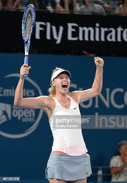 Maria Sharapova of Russia celebrates victory after winning the Women's finals match against Ana Ivanovic of Serbia during day seven of the 2015...