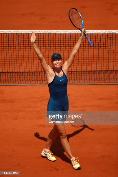 Maria Sharapova of Russia celebrates victory during her ladies singles third round match against Kristyna Pliskova of Czech Republic during day seven...