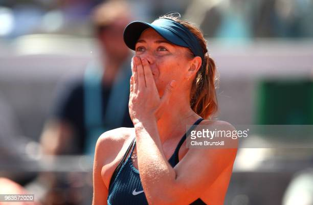Maria Sharapova of Russia celebrates victory during the ladies singles first round match against Richel Hogenkamp of the Netherlands during day three...