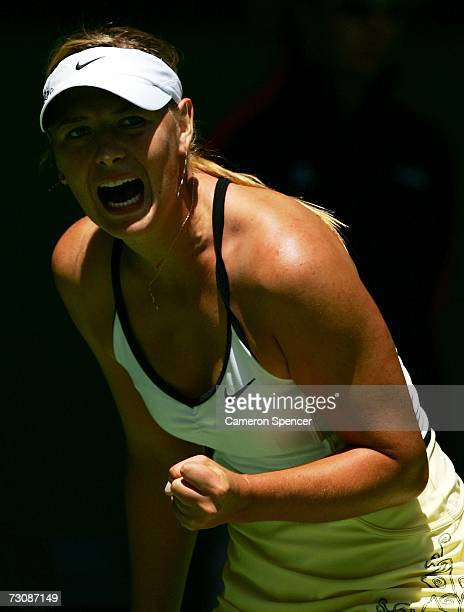 Maria Sharapova of Russia celebrates winning a point during her quarterfinal match against Anna Chakvetadze of Russia on day ten of the Australian...
