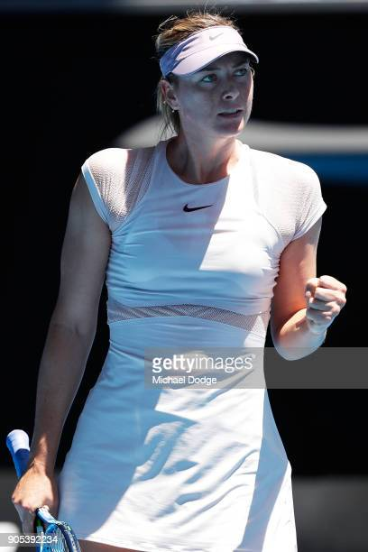 Maria Sharapova of Russia celebrates winning a point in her first round match against Tatjana Maria of Germany on day two of the 2018 Australian Open...