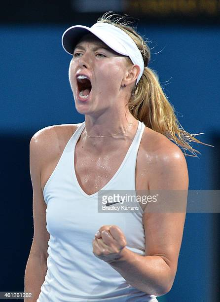 Maria Sharapova of Russia celebrates winning a point in the Women's finals match against Ana Ivanovic of Serbia during day seven of the 2015 Brisbane...