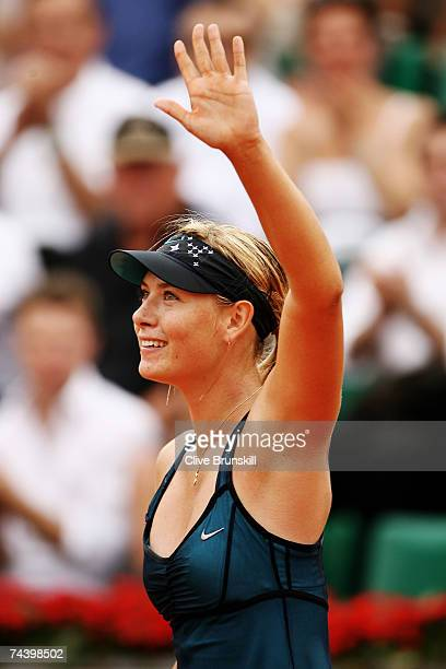 Maria Sharapova of Russia celebrates winning against Anna Chakvetadze of Russia during the Women's Singles Quarter Final match on day ten of the...