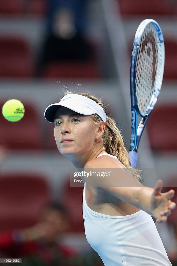 Maria Sharapova of Russia celebrates winning against Kaia Kanepi of Estonia during day two of the China Open at the China National Tennis Center on September 28, 2014 in Beijing, China.