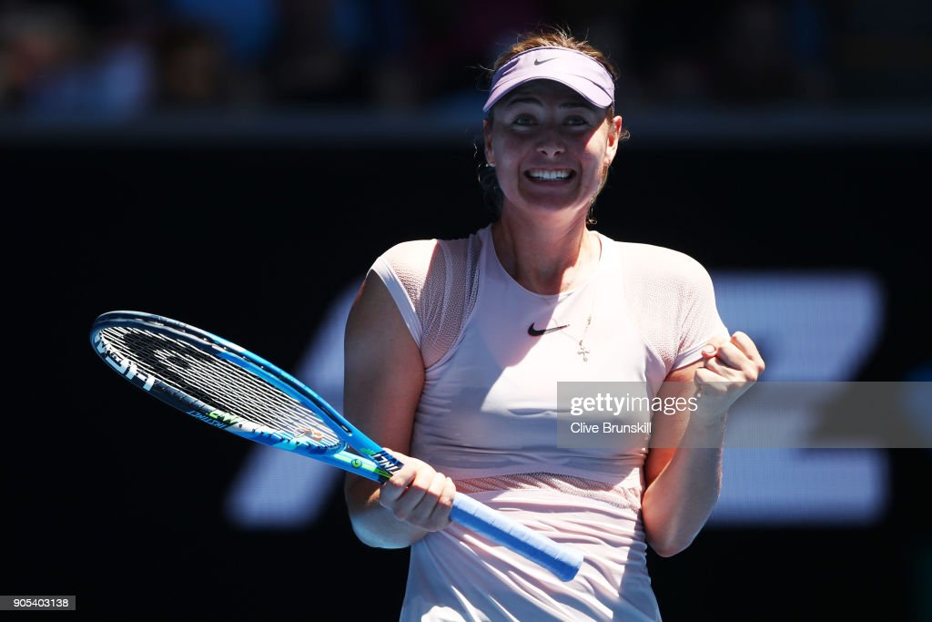Maria Sharapova of Russia celebrates winning her first round match against Tatjana Maria of Germany on day two of the 2018 Australian Open at Melbourne Park on January 16, 2018 in Melbourne, Australia.