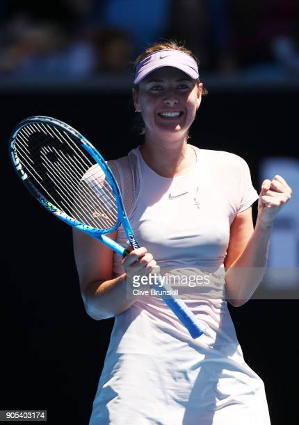 Maria Sharapova of Russia celebrates winning her first round match against Tatjana Maria of Germany on day two of the 2018 Australian Open at...
