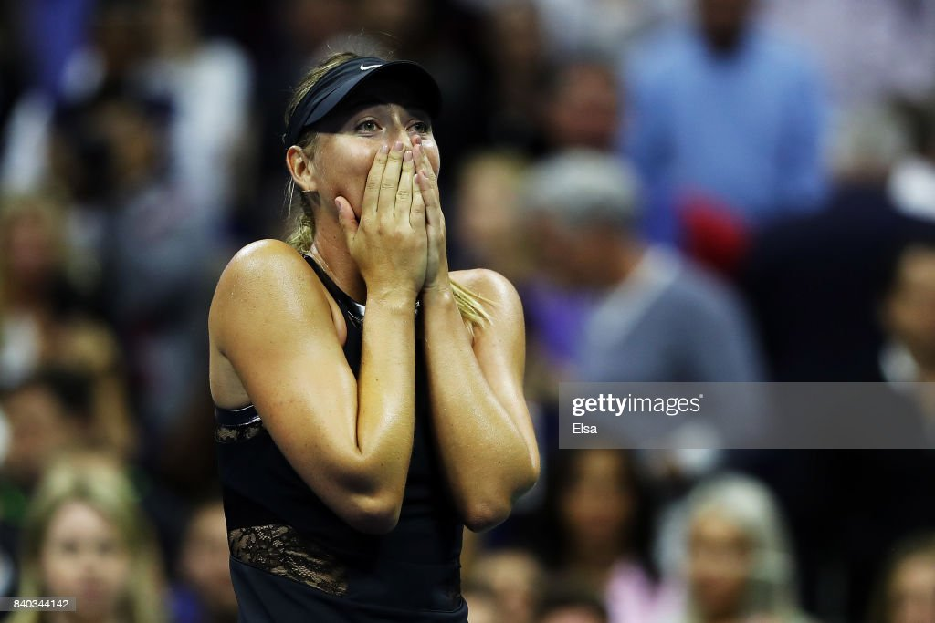 Maria Sharapova of Russia celebrates winning her first round Women's Singles match against Simona Halep of Romania on Day One of the 2017 US Open at the USTA Billie Jean King National Tennis Center on August 28, 2017 in the Flushing neighborhood of the Queens borough of New York City.