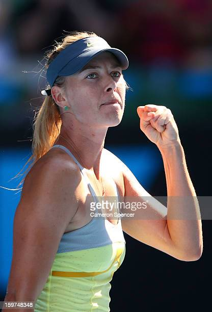 Maria Sharapova of Russia celebrates winning her fourth round match against Kirsten Flipkens of Belgium during day seven of the 2013 Australian Open...