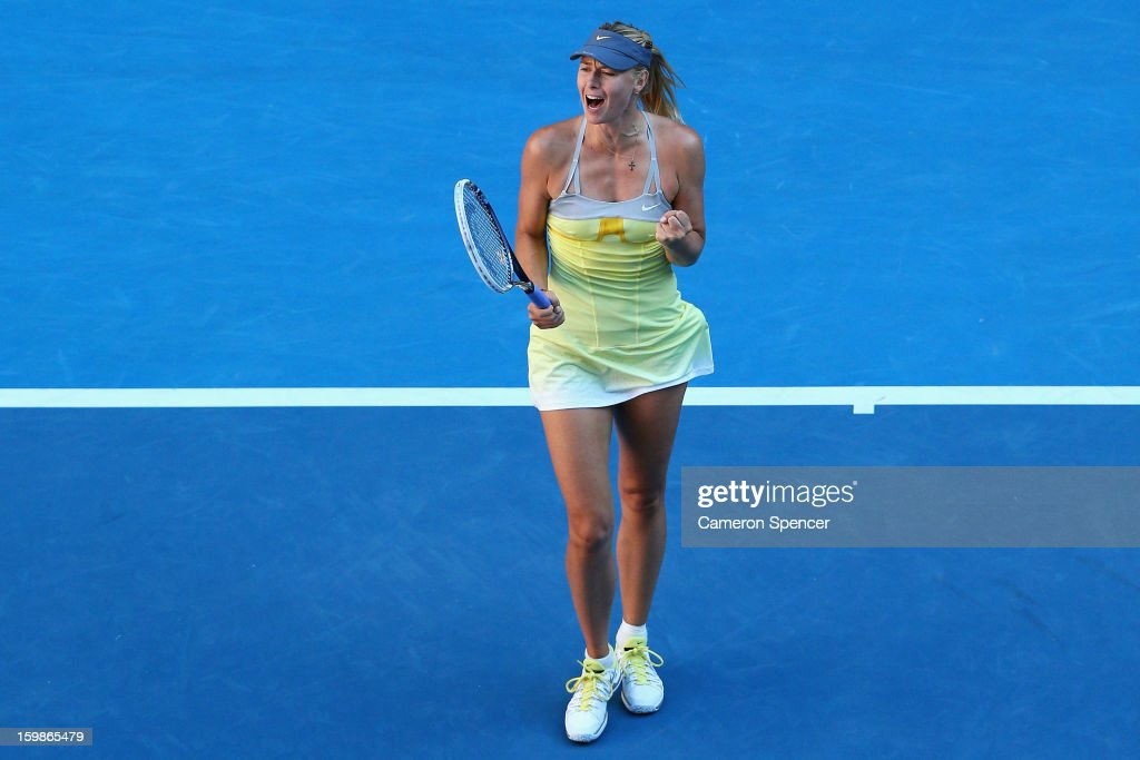 Maria Sharapova of Russia celebrates winning her Quarterfinal match against Ekaterina Makarova of Russia during day nine of the 2013 Australian Open at Melbourne Park on January 22, 2013 in Melbourne, Australia.