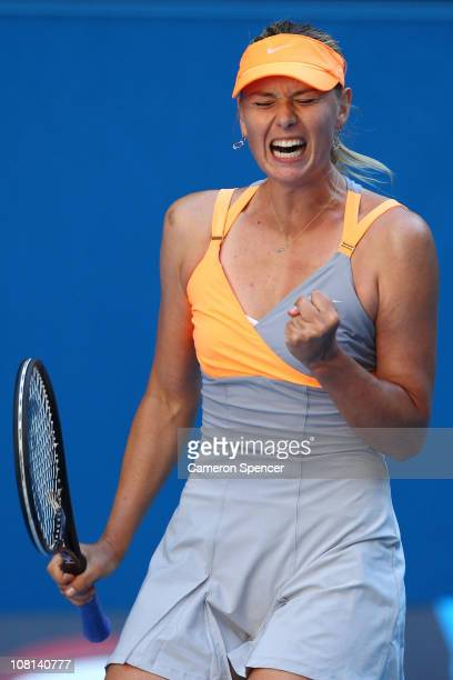 Maria Sharapova of Russia celebrates winning her second round match against Virginie Razzano of France during day three of the 2011 Australian Open...