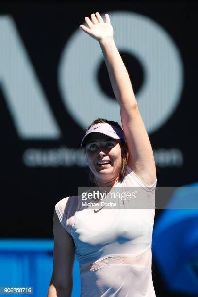 Maria Sharapova of Russia celebrates winning match point in her second round match against Anastasija Sevastova of Latvia on day four of the 2018...