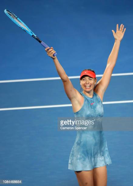 Maria Sharapova of Russia celebrates winning match point in her third round match against Caroline Wozniacki of Denmark during day five of the 2019...