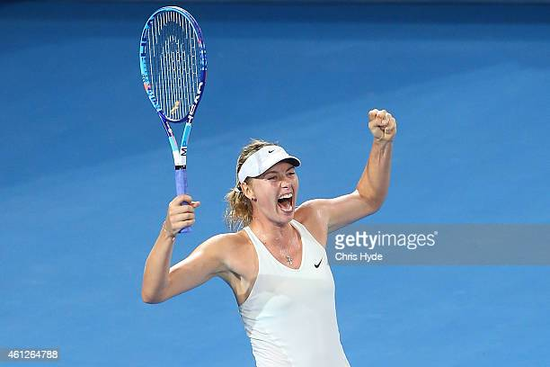 Maria Sharapova of Russia celebrates winning the Women's final match against Ana Ivanovic of Serbia during day seven of the 2015 Brisbane...