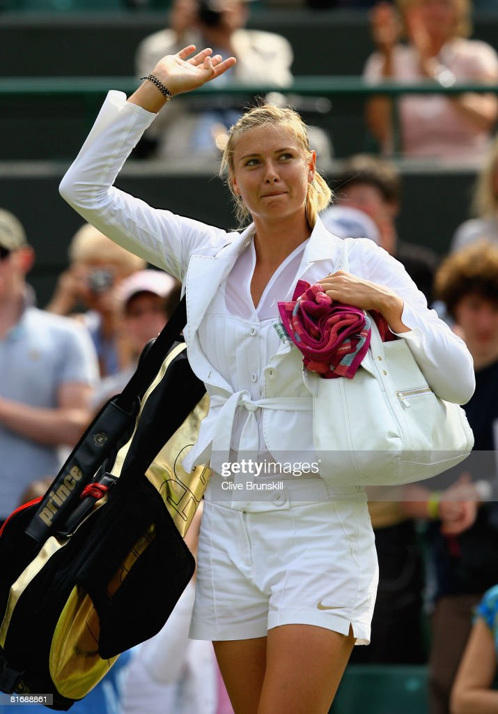 Maria Sharapova of Russia celebrates winning the women's singles round one match against Stephanie Foretz of France on day two of the Wimbledon Lawn Tennis Championships at the All England Lawn Tennis and Croquet Club on June 24, 2008 in London, England.