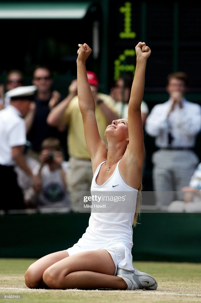 Maria Sharapova of Russia celebrating winning the ladies final match against Serena Williams of USA at the Wimbledon Lawn Tennis Championship on July 3, 2004 at the All England Lawn Tennis and Croquet Club in London. Sharapova won 6-1 6-4.