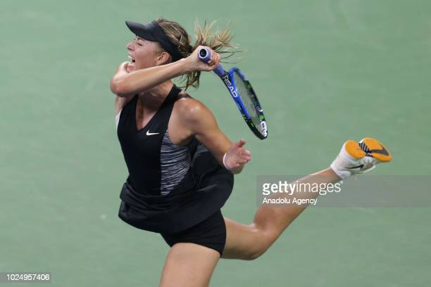 Maria Sharapova of Russia competes against Patty Schnyder of Switzerland during Us Open 2018 tournament in New York United States on August 28 2018