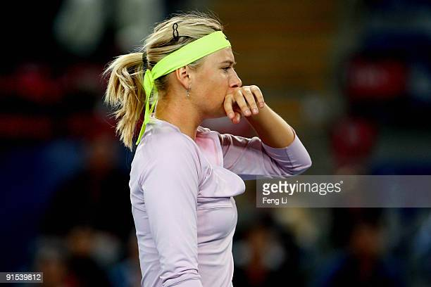 Maria Sharapova of Russia competes against Peng Shuai of China in her third round match during day six of the 2009 China Open at the National Tennis...
