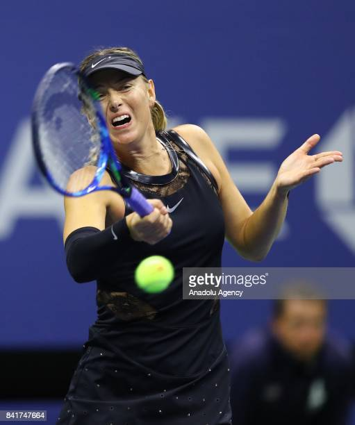 Maria Sharapova of Russia competes against Sofia Kenin of USA in Women's Singles tennis match within 2017 US Open Tennis Championships at Arthur Ashe...