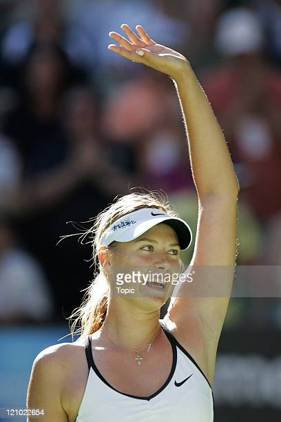 Maria Sharapova of Russia defeating Kim Clijsters of Belgium 64 62 during the women's singles semifinal of the 2007 Australian Open in Melbourne...