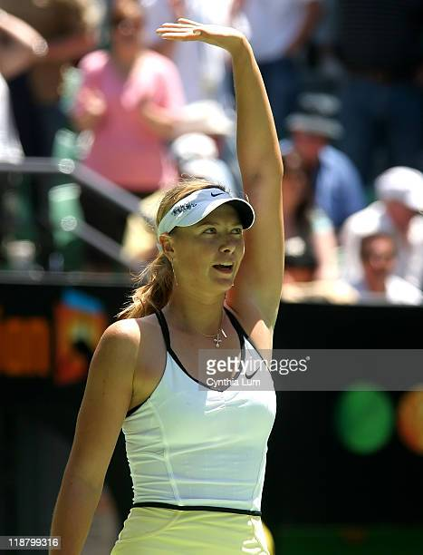 Maria Sharapova of Russia defeats Anna Chakvetadze of Russia 76 75 in the quarter final at the Australian Open in Melbourne Australia on January 24...