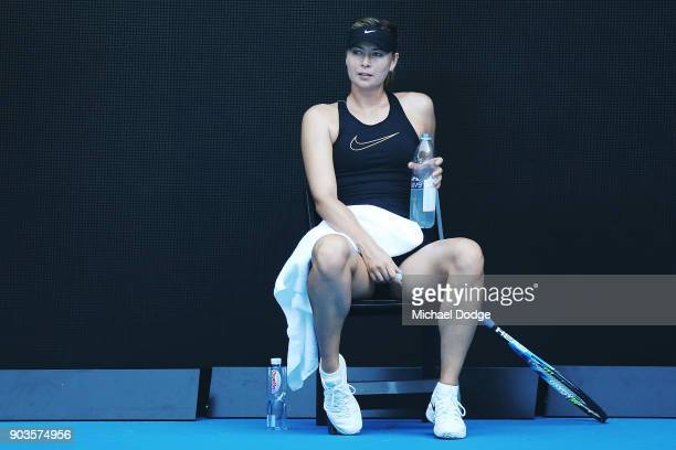 Maria Sharapova of Russia has a drink break during a practice session ahead of the 2018 Australian Open at Melbourne Park on January 11 2018 in...
