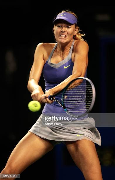 Maria Sharapova of Russia hits a backhand during her match against Heather Watson of Great Britain during day three of the Toray Pan Pacific Open at...