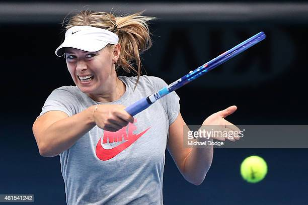 Maria Sharapova of Russia hits a forehand during a practice session ahead of the 2015 Australian Open at Melbourne Park on January 15 2015 in...