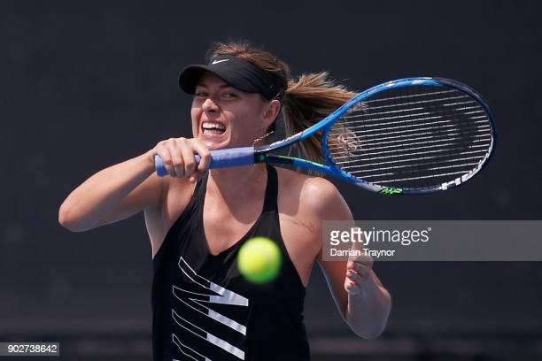 Maria Sharapova of Russia hits a forehand during a practice session ahead of the 2018 Australian Open at Melbourne Park on January 9 2018 in...