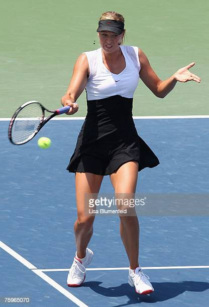 Maria Sharapova of Russia hits a forehand shot to Anna Chakvetadze of Russia during the Day 6 semifinal match of the Acura Classic at the La Costa...