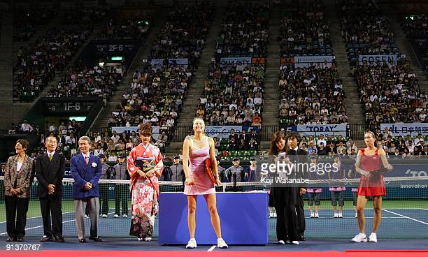 Maria Sharapova of Russia holds the trophy after beating Jelena Jankovic of Serbia in the final match during day seven of the Toray Pan Pacific Open...