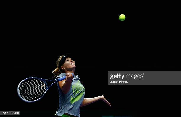 Maria Sharapova of Russia in a practice session during previews for the WTA Finals at Singapore Sports Hub on October 18 2014 in Singapore